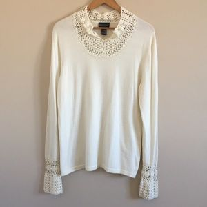 Dialogue | Cream Knit Pullover Sweater Crocheted